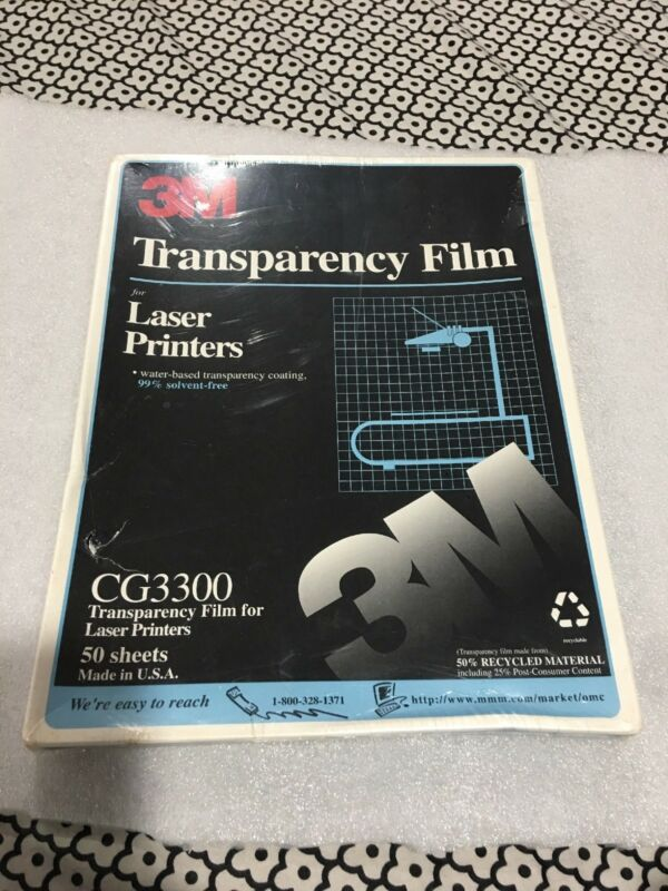 3M Laser Printer Transparency Film, Clear, Letter, Water Based Transparency Coat