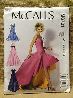 MCCALLS PATTERN 6701 DRESSES FORMAL PROM  MISSES SIZES  6 8 10 12 14  UNCUT