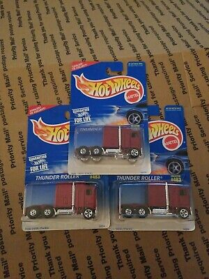 HOT WHEELS THUNDER ROLLER (MAROON) COLLECTOR # 483 LOT OF 3