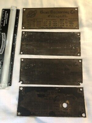 (4)Vintage Brass Boiler Name Plate. GECO. Chicago Illinois 1899-1905 Patents.