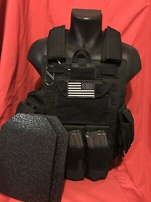 Tactical Vest Plate carrier- Black w/ 2 Curved Plates Included