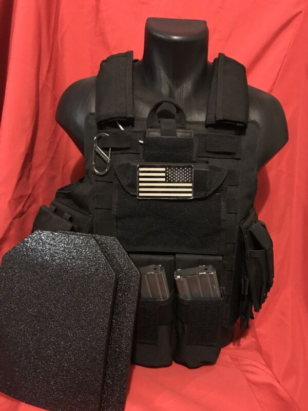 Black Tactical Vest Plate carrier w/ 2 Curved 10x12 Plates & Pouches Included