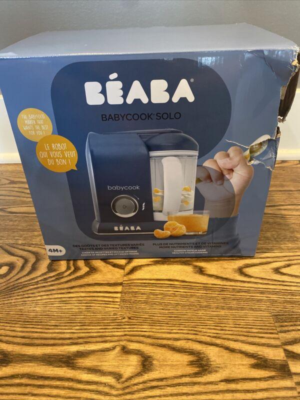 BEABA Babycook Solo Baby Food Maker, Steamer/Cooker/Blender, Navy - NEW