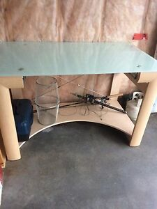 Glass top desk.