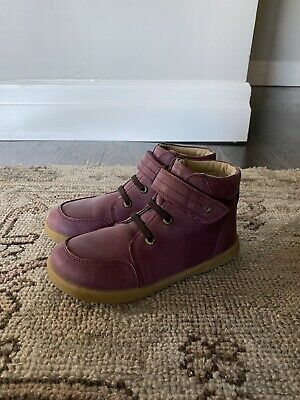 Bobux Kids Girls Timber Plum Leather Ankle Boots Size 12 EUC