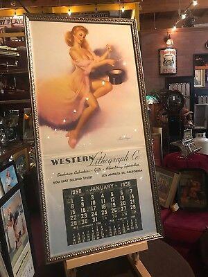 """1956 NOS Salesman Sample Framed Pinup Moll Calendar 34"""" x 17"""" """"Watch Video"""""""