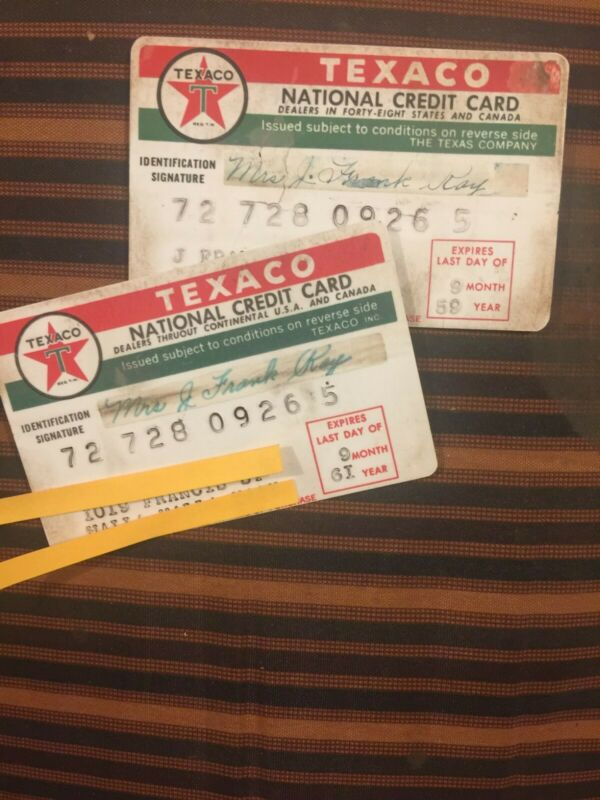 Texaco the texas company 1959 1961 Vintage national 2 credit cards antique old
