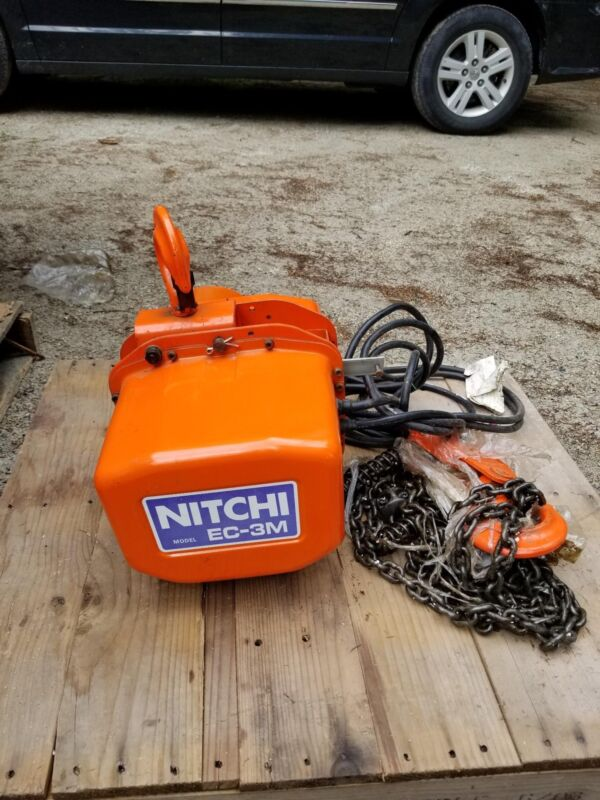 New Nitchi 2 Ton Electric Chain Hoist Ec-3m 3phase 200v 3m Lift