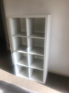 white cube shelves