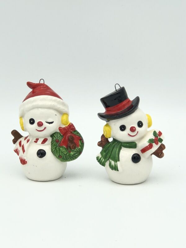 "Vtg Lot of 2 INARCO #6264 SNOWMAN Gift Wreath Ceramic Ornament Figurine 3"" Japan"