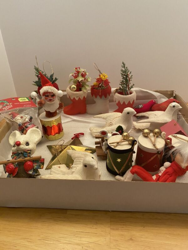 Vintage Christmas Tree Decorations, Lot of 19 Pieces