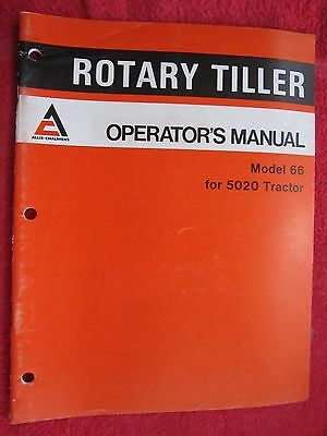 1977 Allis Chalmers 66 Rotary Tiller For 5020 Tractor Operators Manual