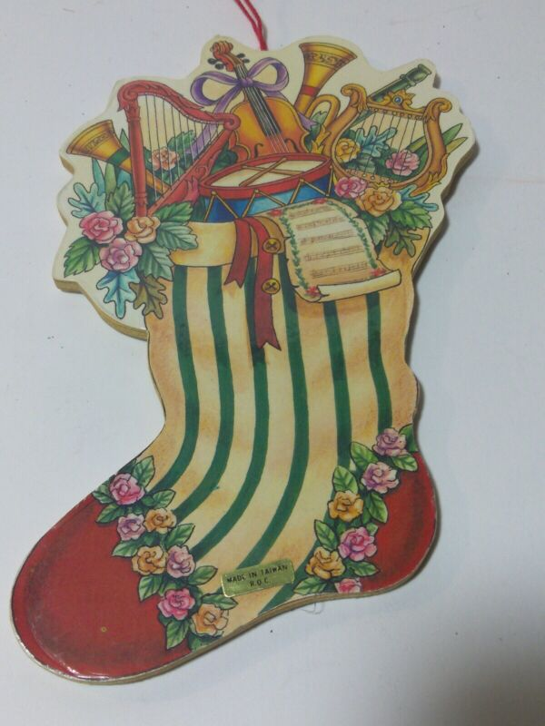 Christmas Ornament Wood Diecut Stocking w/ with Musical Instruments, Sheet music