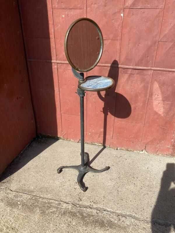 1890s Cast Iron Adjustable Shaving Stand Mirror Barber Shop Bathroom Industrial