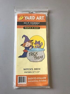 Halloween Yard Art, Witch's Brew yard art, DIY yard art pattern, Halloween decor