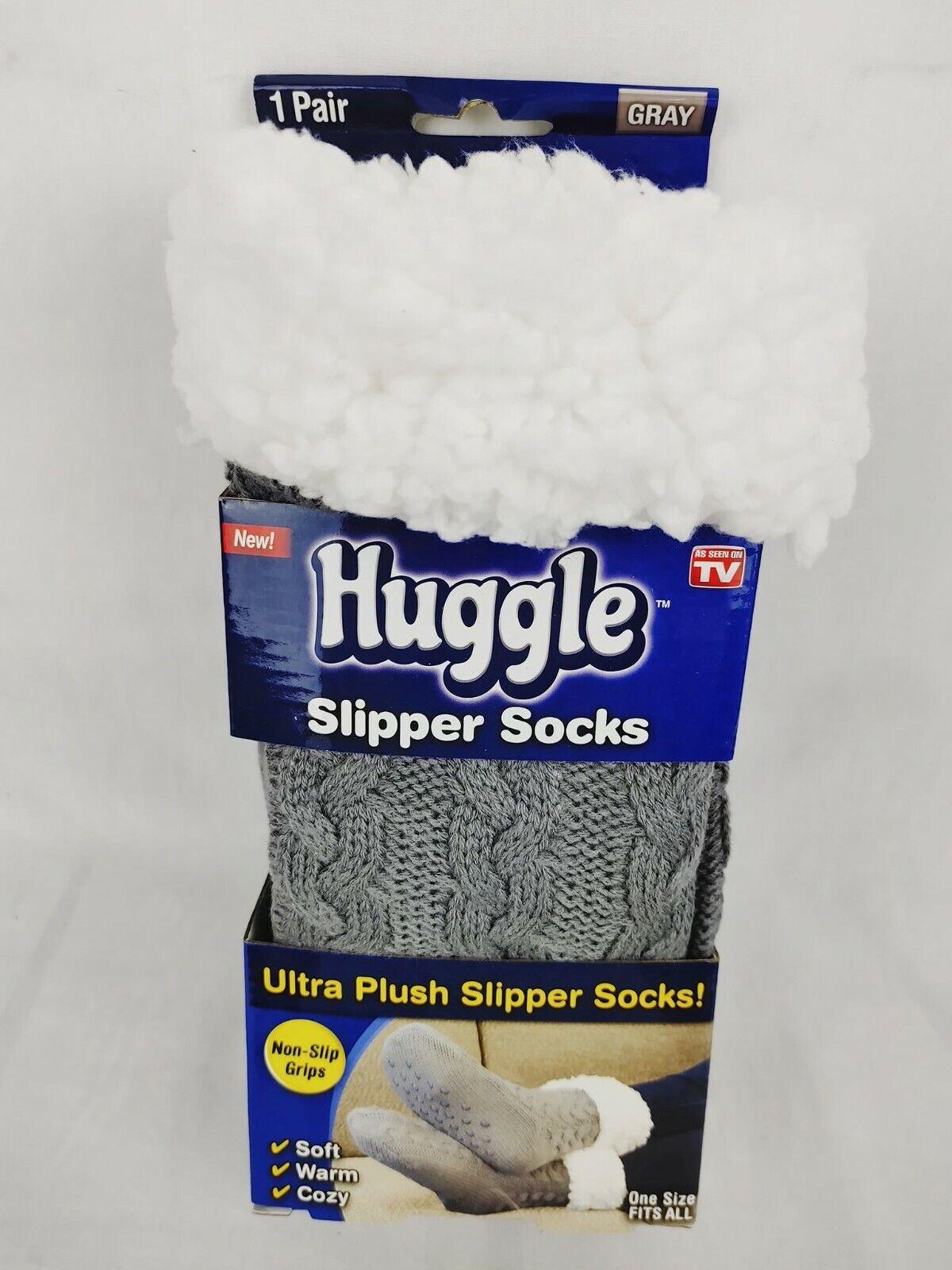 As Seen On TV Huggle Slipper Socks OSFA Silicone Grips Ultra