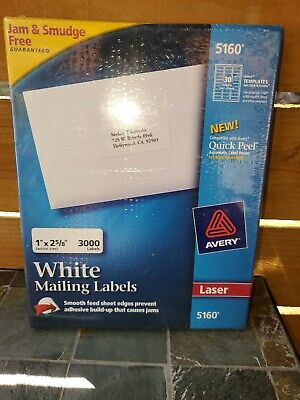 Avery 5160 Easy Peel White Mailing Labels For Laser Printer 1 X 2-58 3000 Label