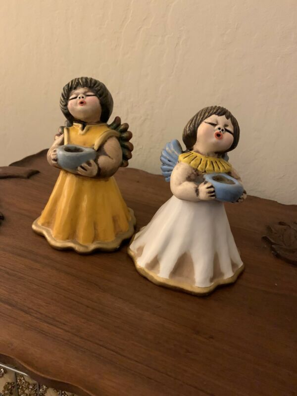 Vintage Bozner Engel Thun Ceramic Angel Candleholder Made In Italy