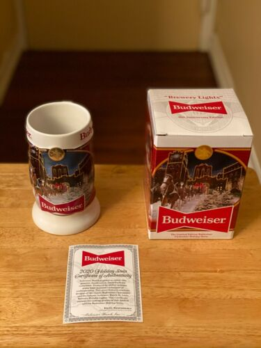 """2020 Budweiser Holiday Stein 41st Anniversary Edition """"Brewery Lights""""-New W/COA"""
