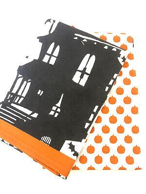 2 Crate & Barrel Halloween Kitchen Dish Towels Bats Haunted House Pumpkins NWT