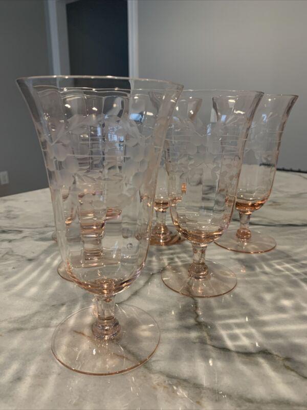 4 Vintage Pink Depression Water/Tea Stemmed Glasses Etched Floral Design