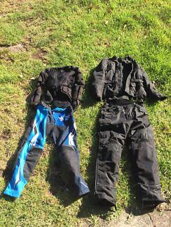 Motorcycle jacket pants gear gloves (multiple)