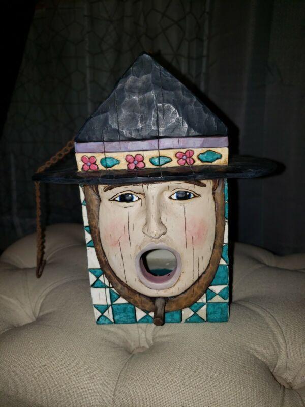 Rare 2004 Jim Shore Heartwood Creek Birdhouse Amish man face (latch broke)