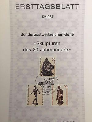 Berlin West Ersttagsblatt 12/1981 Skulpturen Mi 655 bis 657