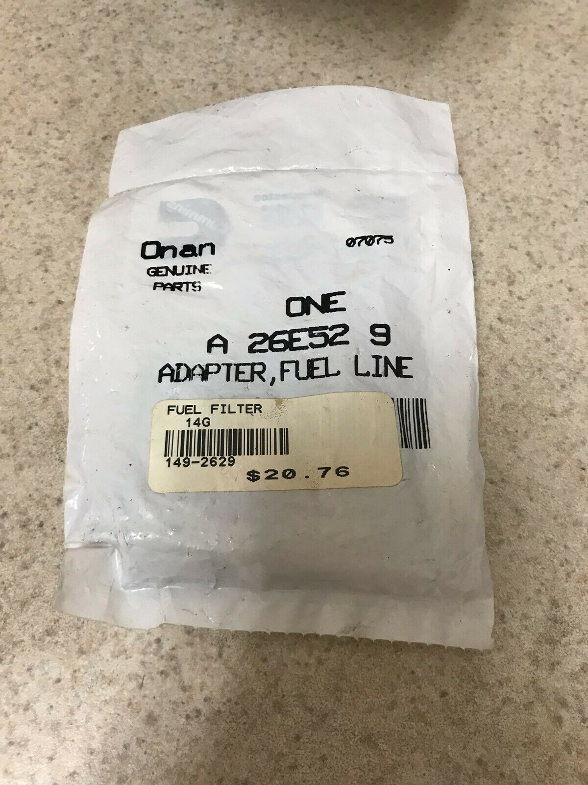 Genuine Onan fuel filter #149-2629 / A26E529 New Old Stock