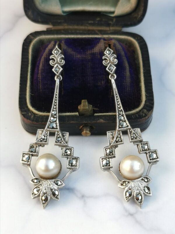 Beautiful Antique Art Deco Marcasite And Pearl Silver Earrings