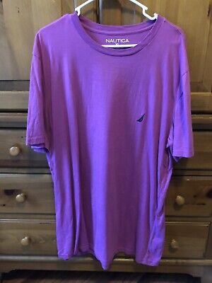 Mens Nautica Classic T Shirt Purple Pink XL