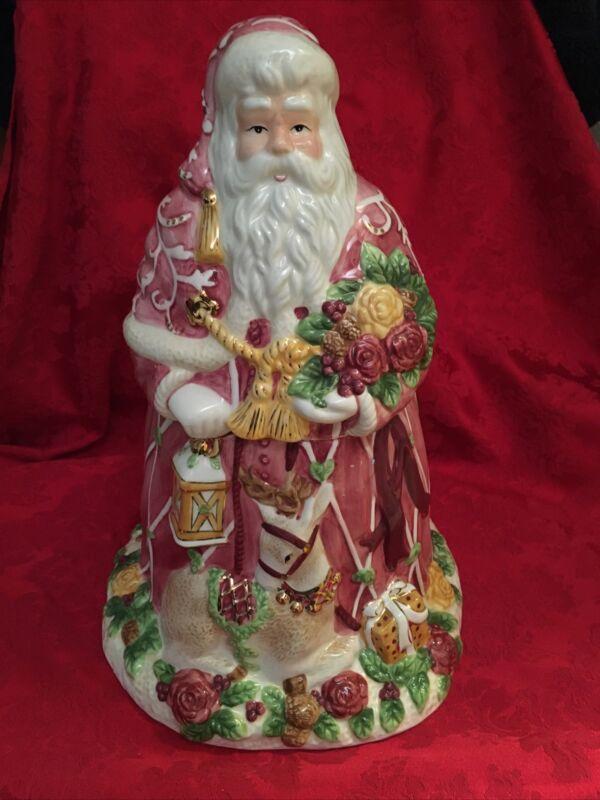 Royal Albert Seasons of Colour Red Santa Claus Cookie Jar Original 2002 Perfect!