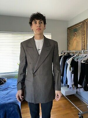 GIORGIO ARMANI VIRGIN WOOL SIZE 38R GRAY DOUBLE BREASTED SUIT JACKET