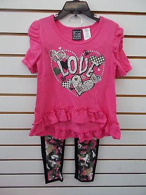 Girls Pogo Club 2Pc Pink   Camo Legging Set Sizes 4   6X