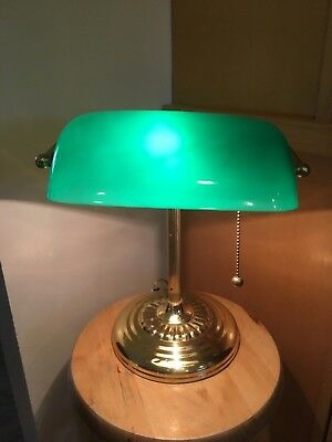 Vintage Pacific Trends Brass Bankers-Piano Desk Lamp Emerald Green Glass Shade  ()