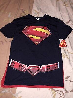Men's Superman T-shirt Costume with Detachable Cape Size large 42/44 (Superman Costume For Men)