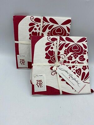 2 x Jan Constantine Love / Heart  kitchen Tea Towels BNWT
