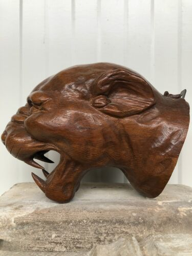 SALE!Top Quality Tiger/Gargoyle Head/face carved in wood SIMPLY AN ART PIECE!!!!