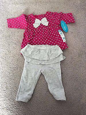 Bon Bebe Girl's 2 Piece Top and Pant Set In Fushia Polka Dots Size 3-6 M NWT