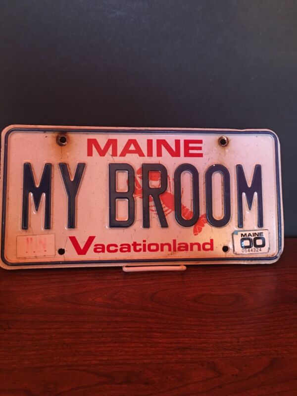 """Maine Vanity License Plate """"MY BROOM"""" witch Halloween Wicca Witchcraft"""