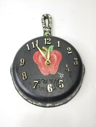 VTG Cast Iron Frying Pan Skillet Kitchen Wall Clock Pepper hand painted