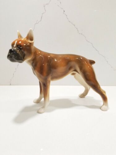 Vintage Porcelain Boxer Dog Figurine made in Austria RARE