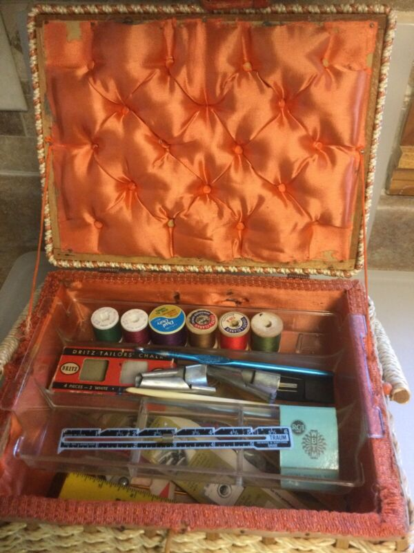vintage sewing basket with contents— used