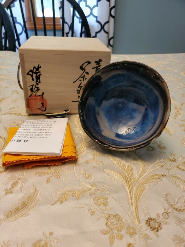 Seigan Yamane Japanese Blue Oni Hagi Chawan Bowl Pottery Ceramics