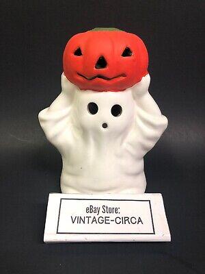 Vintage Ceramic Halloween Ghost Holding Pumpkin JOL Tea Light Candle Holder CUTE