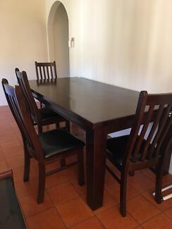 Solid Wood Dining Table and 4 chairs and a bench seatDining