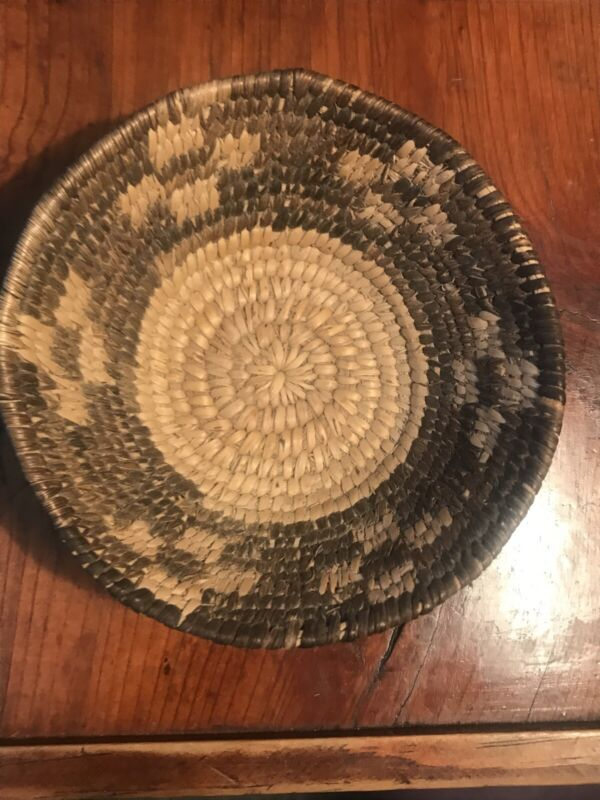 Rare Old Tightly Woven Bowl Shaped  Basket - Devil's Claw Design C1900's