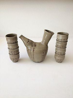 Frances Senska studio pottery pitcher 8 cup set carafe ceramic Autio Voulkos