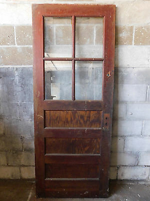 Antique Victorian Style Entry Door - 1900 Three Panel Fir Architectural Salvage