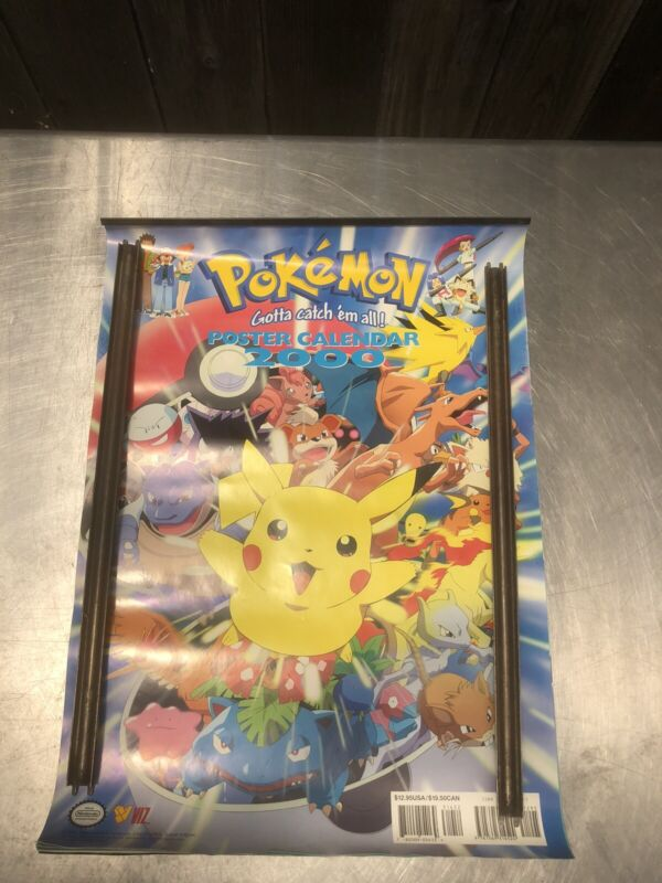 vintage pokemon 2000 calendar/posters official nintendo  (Rolled)